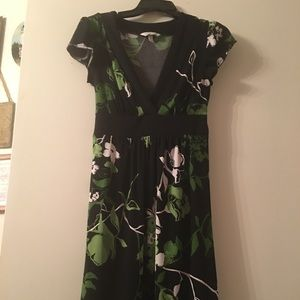 Black and green dress with tie back